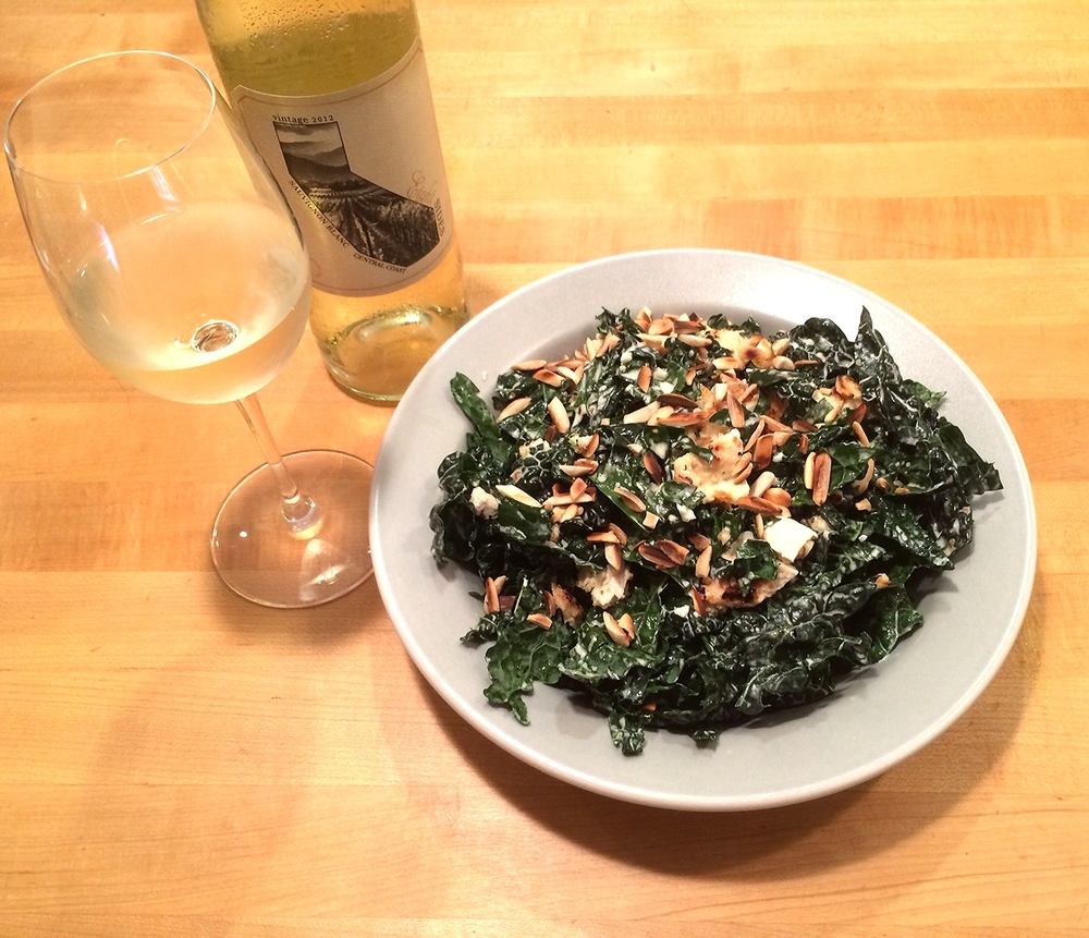 And...voila!  Kale Chicken Caesar Salad! A perfect pairing for a crisp glass of Sauvignon Blanc.