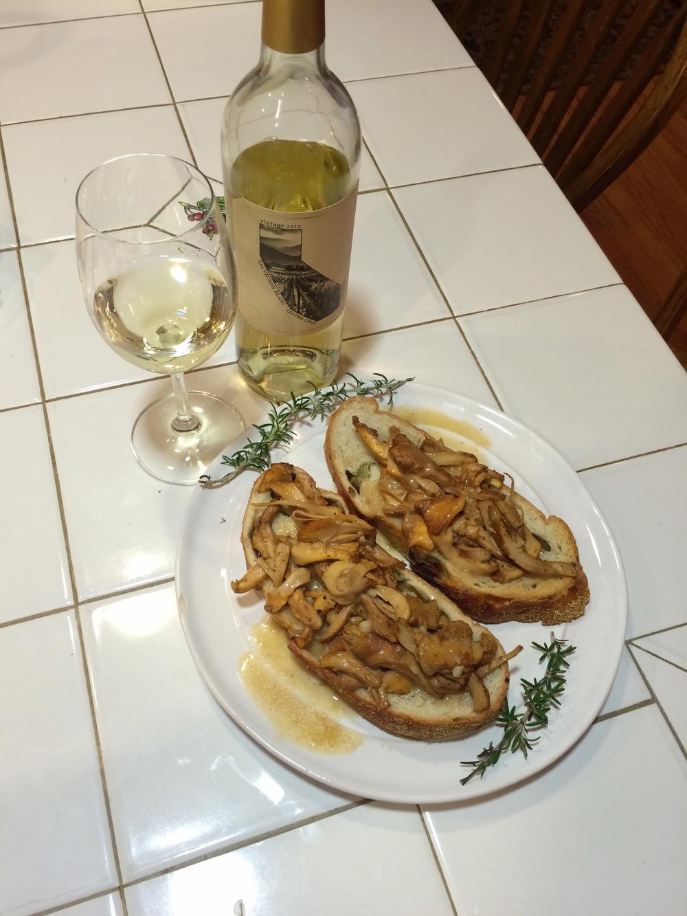 Chanterelle toast with Sauvignon Blanc, yum.