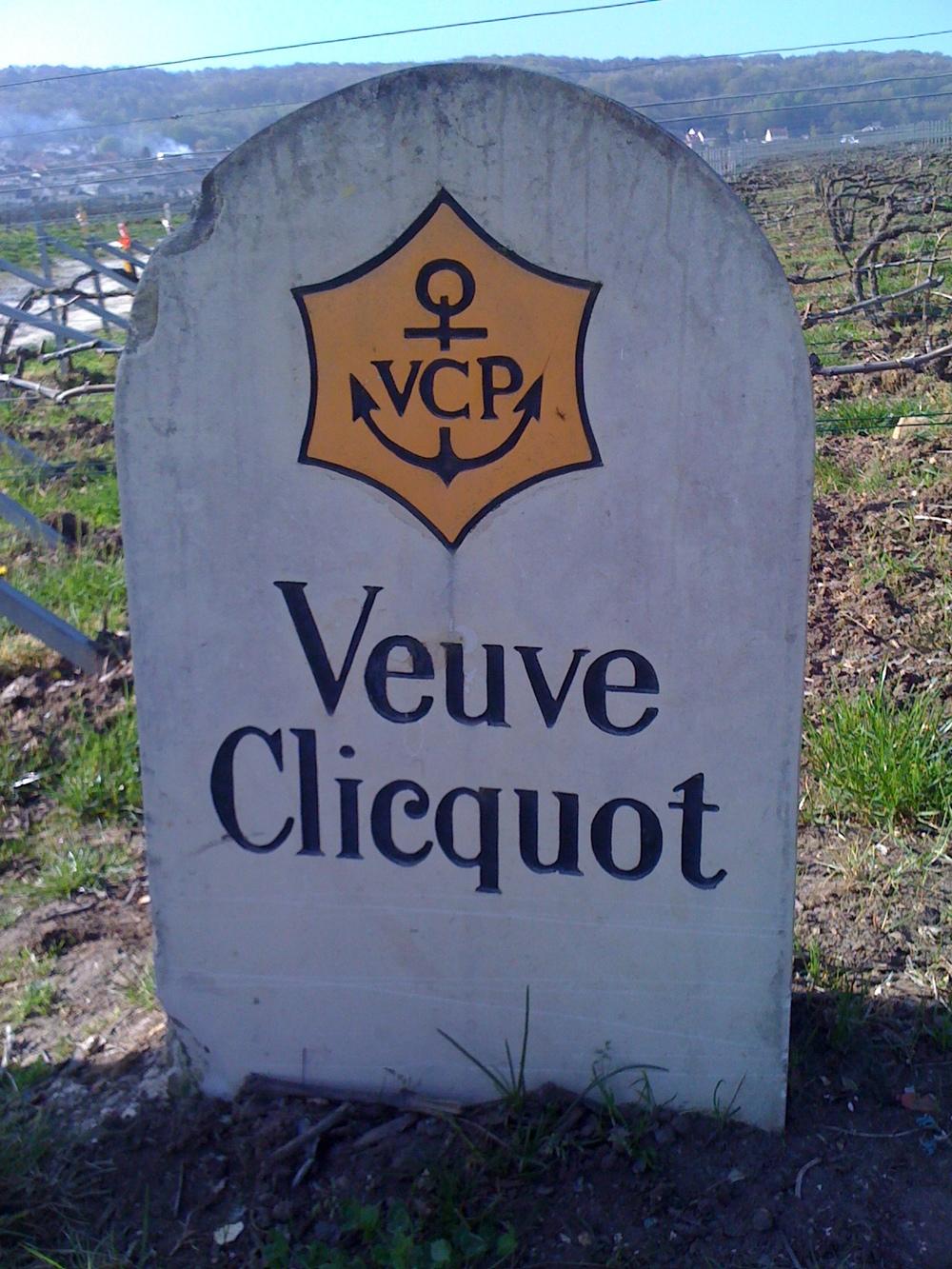 A vineyard marker for Veuve Clicquot Ponsardinin Champagne.