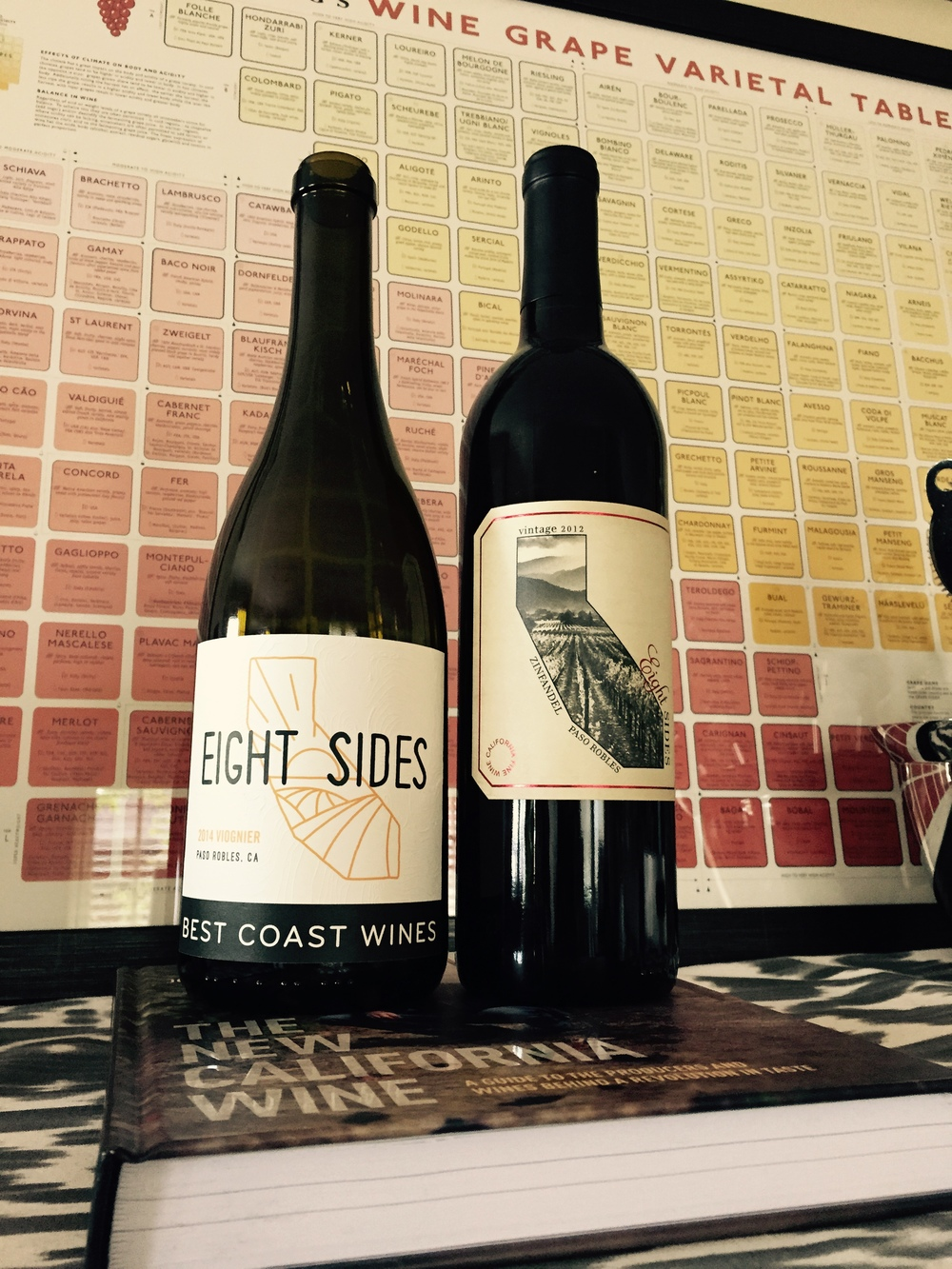 Our new Eight Sides Viognier label, standing tall next to older cousin, Zin.