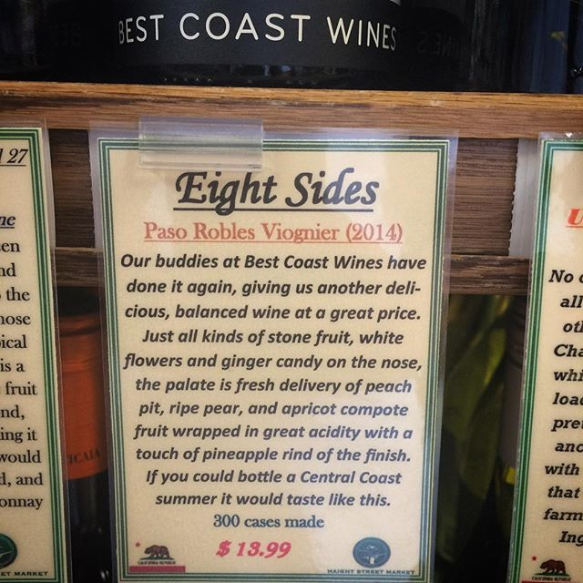 Solid write up on the Viognier from our friends at Haight St. Market. #bestcoastwines #viognier