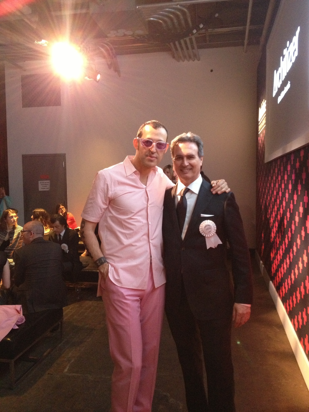 Karim Rashid and Adrian Levin at A+Awards. This is Karim's interpretation of a black tie event - tickles me pink !