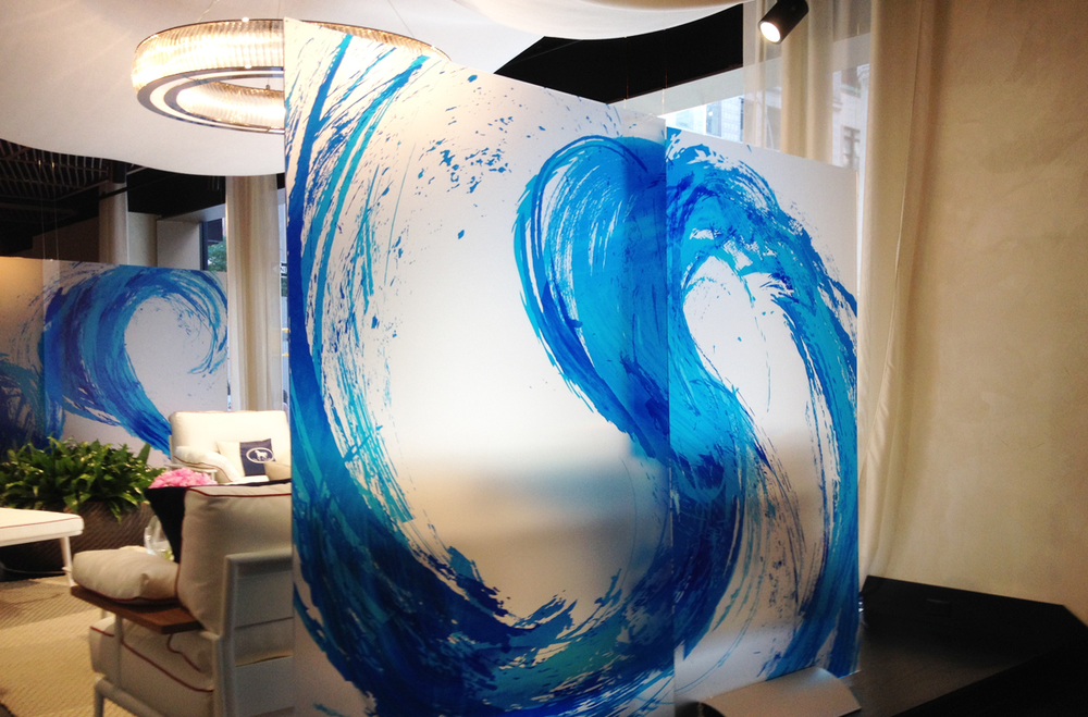 Translucent panels with wave images /  images by NovoArts