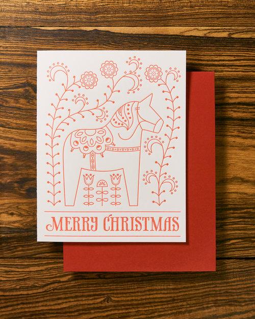 Letterpress greeting cards letterpress cards wedding invitations swedish dala horse christmas letterpress card filmwisefo
