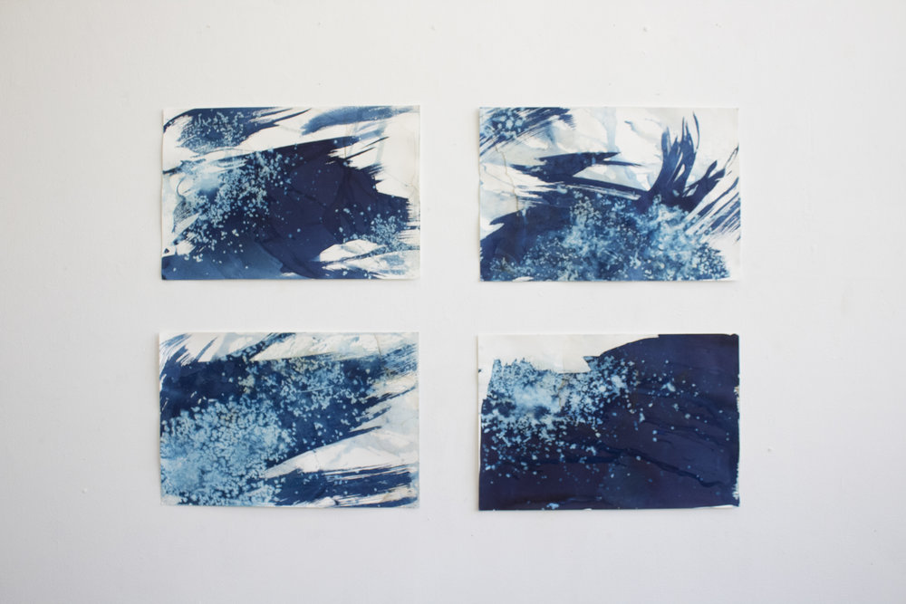 each 12x18in, snow and cyanotype on paper, 2017