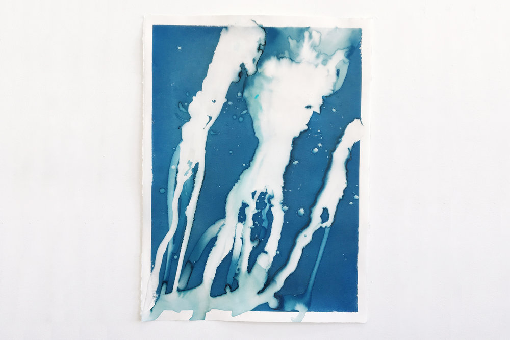 30x22in, ice and cyanotype on paper, 2016