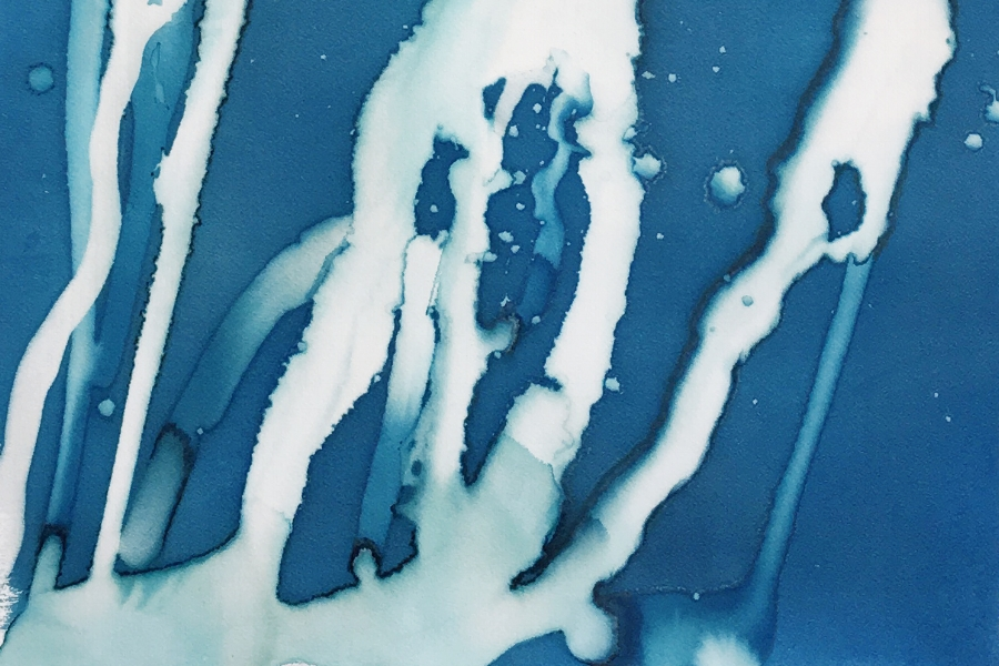 [detail] - 30x22in, ice and cyanotype on paper, 2016