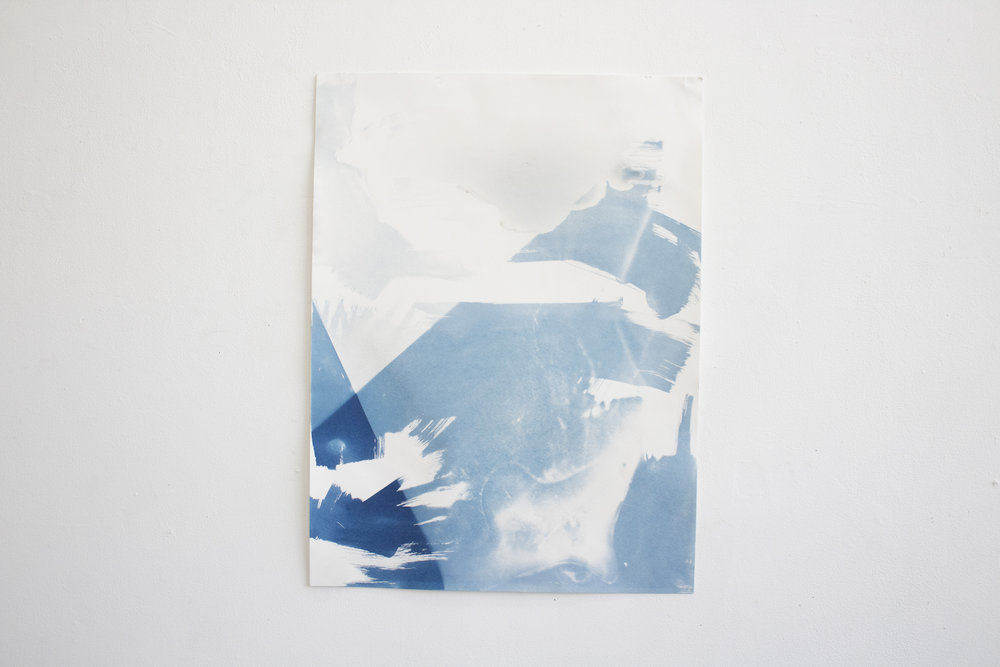 untitled (clouds),  cyanotype paper, 24x18in,  $150*