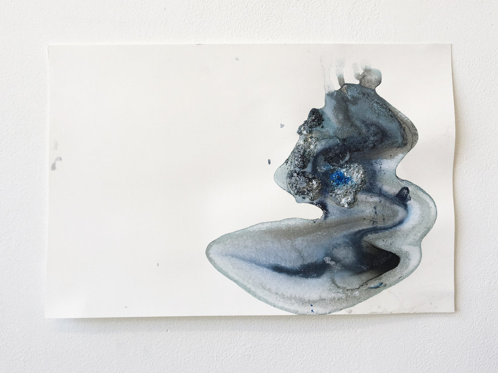 Flow #2 , ice (pigment, acrylic, charcoal) on paper, 12x18in,  $75*