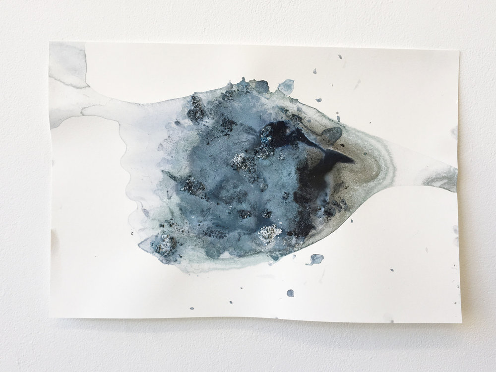 Flow #4 , ice (pigment, acrylic, charcoal) on paper, 12x18in,  $75*
