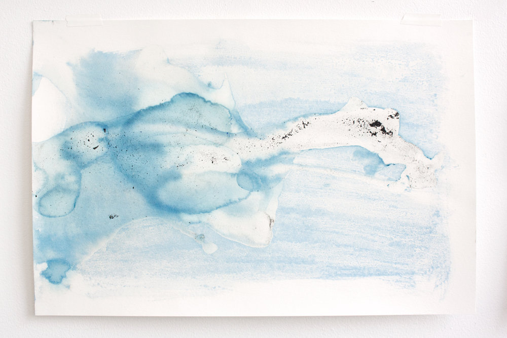 Flow #6 , ice (cyanotype, acrylic, charcoal) on paper, 12x18in,  $75*