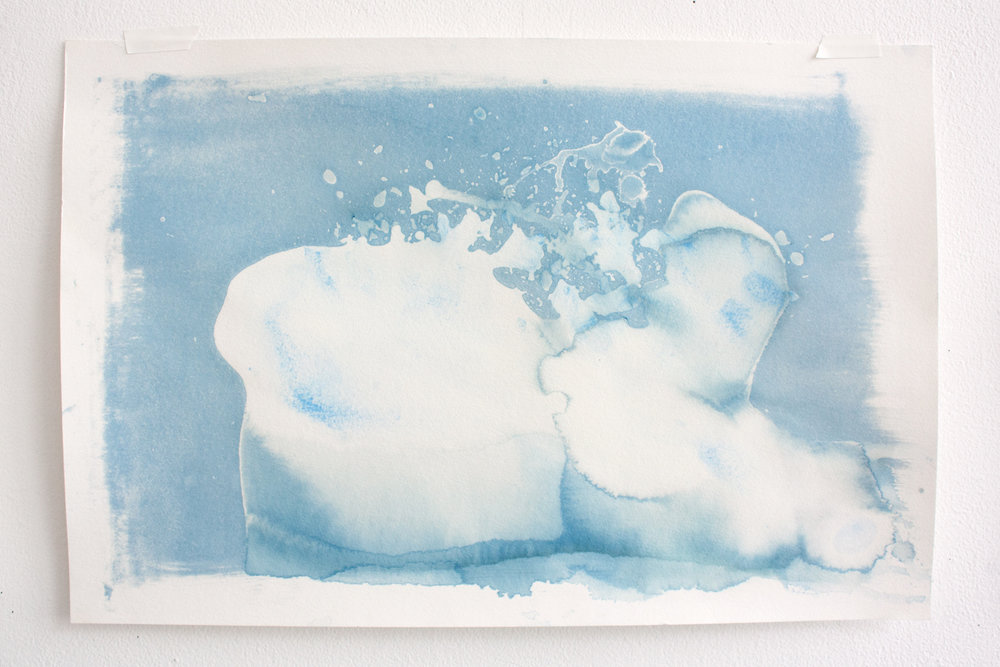 Flow #11 , ice (watercolor) and cyanotype on paper, 12x18in,  $75*