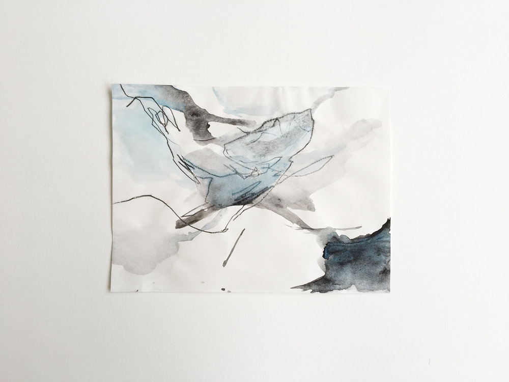 untitled (Juneau #2), watercolor and charcoal on paper, 5x8in,  $50