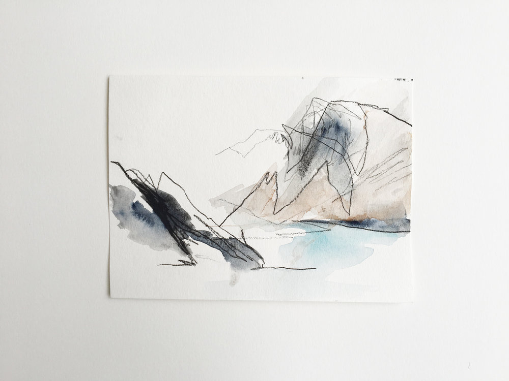 untitled (Convict Lake #1), watercolor and charcoal on paper, 5x8in,  $50