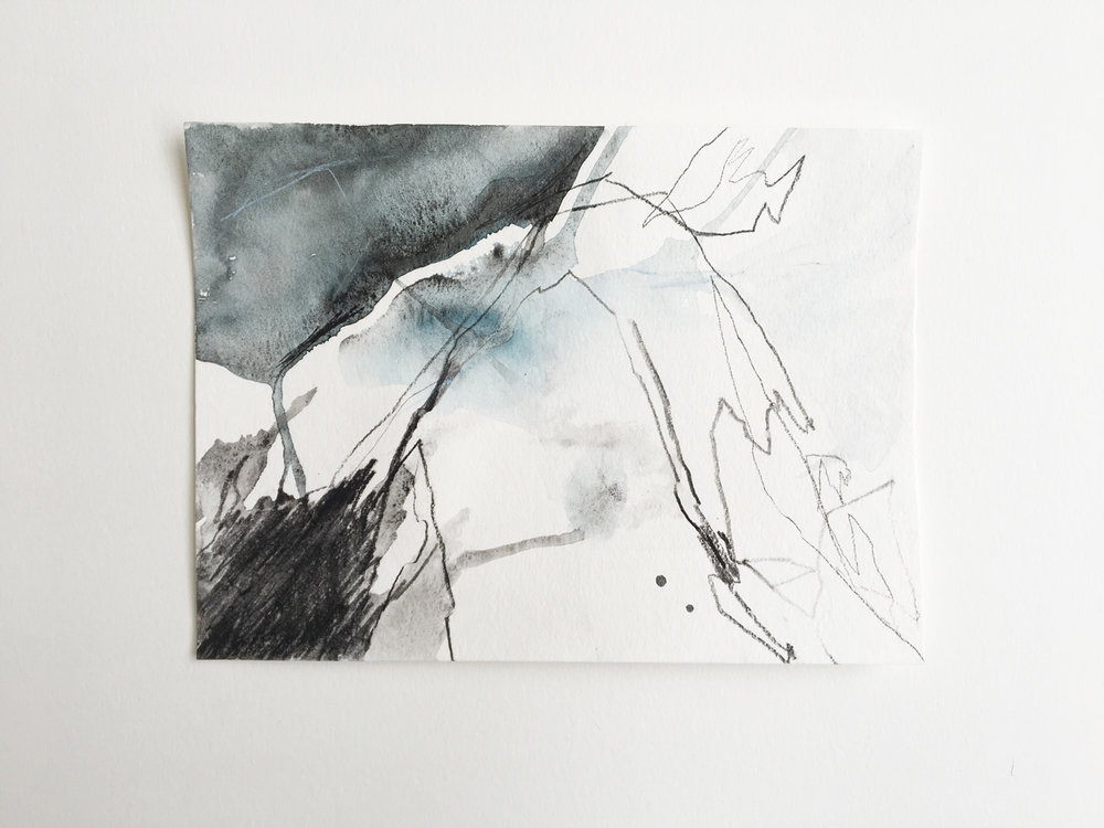 untitled (Juneau #4), watercolor and charcoal on paper, 5x8in,  $50