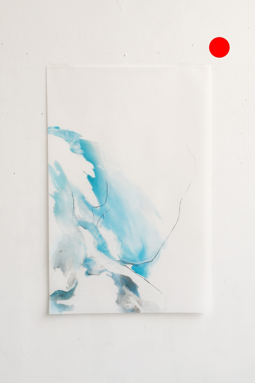 untitled (glacier shapes #2), watercolor and charcoal on yupo paper, 38x25in,  SOLD
