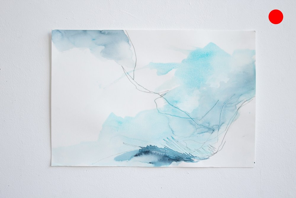 Another Ocean (glacier shapes from memory) #5 , watercolor and charcoal on paper, 12x18in,  SOLD