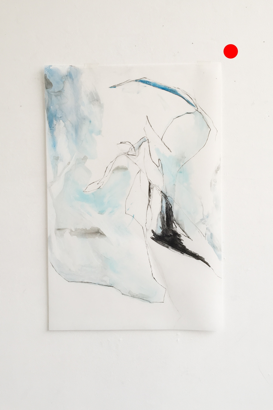 untitled (glacier shapes #1), watercolor and charcoal on yupo paper, 38x25in,  SOLD