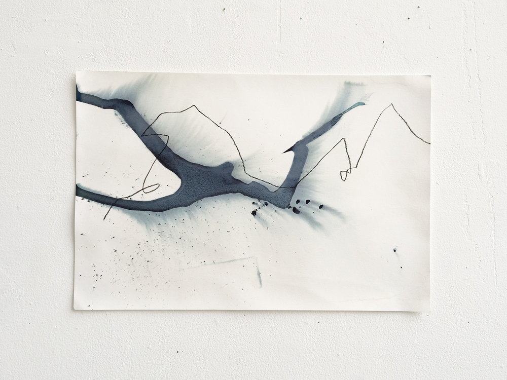 Another Ocean (glacier shapes from memory) #6,  cyanotype and charcoal on paper, 12x18,  $100