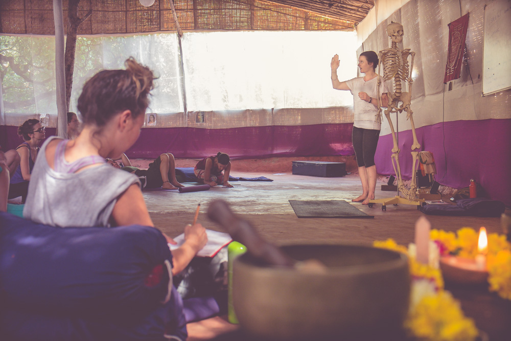 Anatomy Class on the TRIBE TTC.  Liza is Currently teaching Anatomy on Yoga Teacher Training courses in Goa, South India