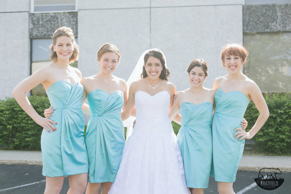 Bridal-Party-outdoors-teal-dress