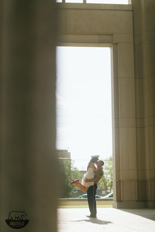marine-kissing-fiance-wearing-hat