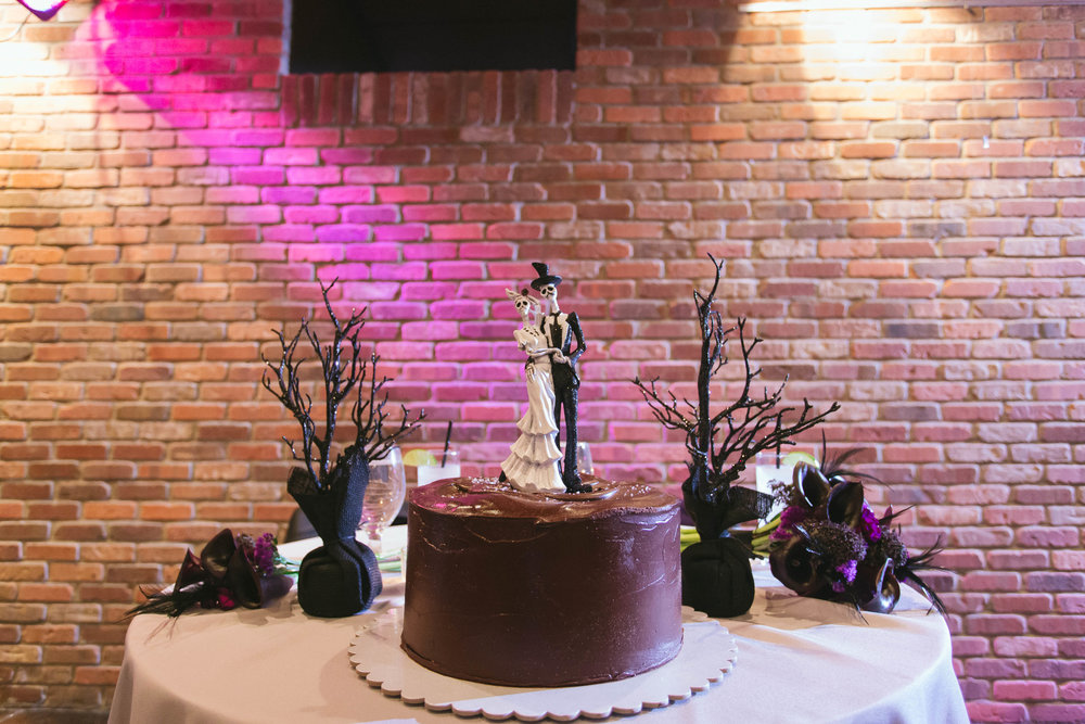 unique black halloween wedding cake