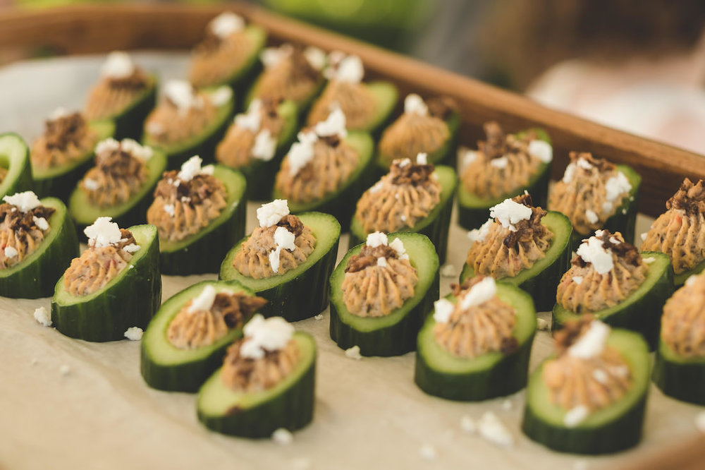 Cucumber Hummus Appetizer Station