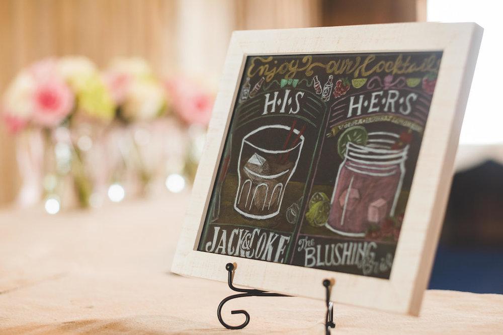Custom Cocktails on a Chalkboard Sign