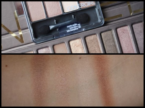 Urban Decay's Naked versus Covergirl's Eye Enhancers 4-Kit Shadows in Country Woods