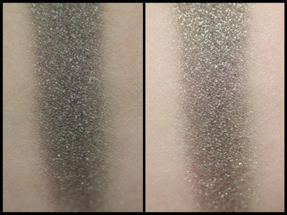 Swatches of Electrifying Sparkle without flash (left) and with flash (right)