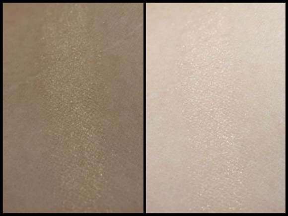 Swatch of Gold Pearl without flash (left) and with flash (right)