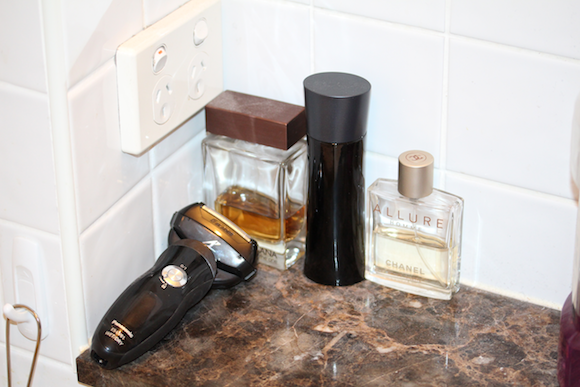 Pretty much all of my stuff in the bathroom.