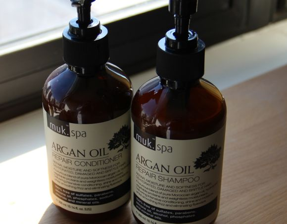 muk Spa Argan Oil Repair Conditioner (left) and Shampoo (right)