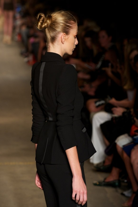 Alex Perry: A minimalist look with hair tied back into a loose chignon, yet still looks beautiful and elegant
