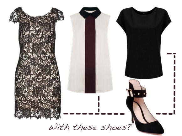 From left to right: Review Dress | SABA Shirt x 2 | Jo Mercer Heels