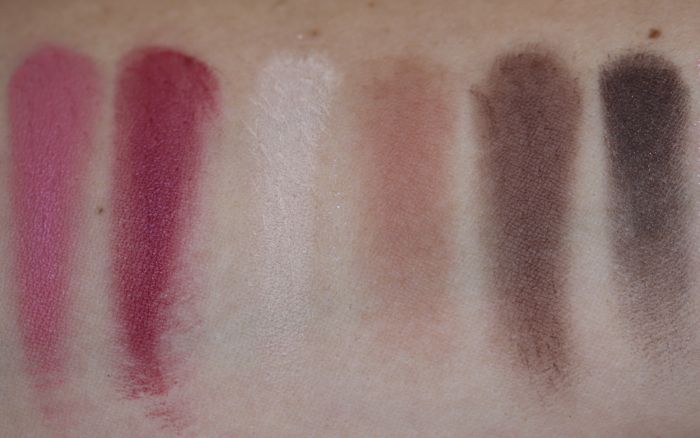 A little bit closer now (from left to right): Pretty Powerful Pot Rouge, Raspberry Pot Rouge, Cream, Antique Rose, Stone & Black Cocoa; the last four are powder eyeshadows