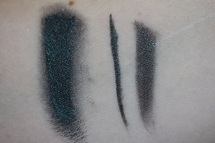 NARS Snake Eyes swatched from left to right: with my finger, thinly lined with an angled brush and painted on heavily with the same angled brush