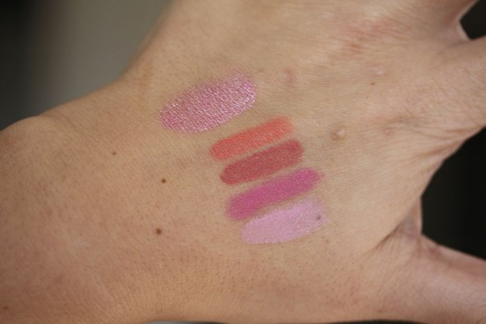 Swatches from top to bottom: NARS Illuminator in Adelaide and Satin Lip Pencils in Torres del Paine, Descanso, Villa Lante & Stourhead