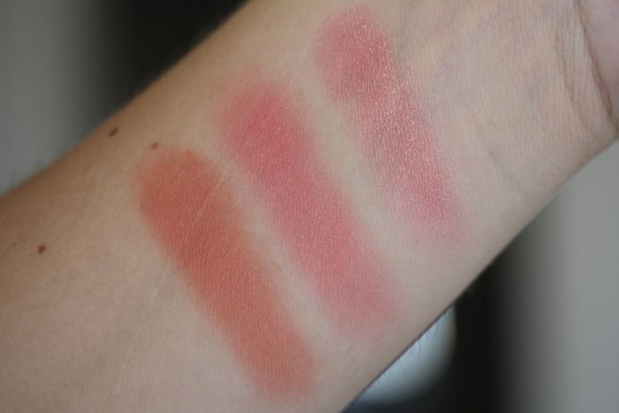 Comparison swatches from Left to Right: NARS Gilda, Clinique Peach Pop and NARS Orgasm