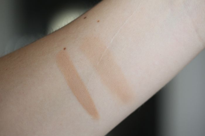 Swatches of Beige 30 with flash unblended (left) and blended (right)