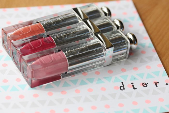 Dior Addict Fluid Sticks (from top to bottom) in Mirage, Vertigo and Kiss Me