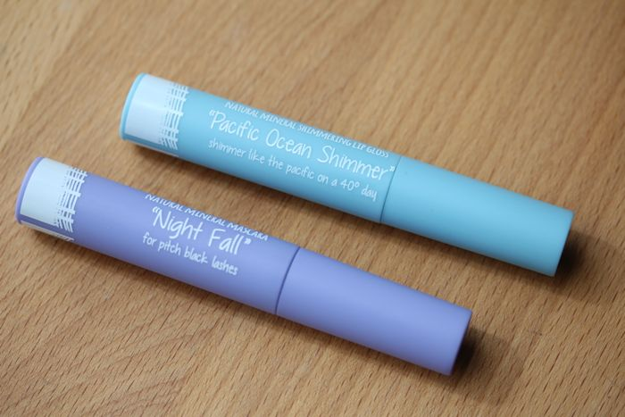 Night Fall Natural Mineral Mascara (bottom) and Pacific Ocean Shimmer Natural Shimmering Lip Gloss (top)