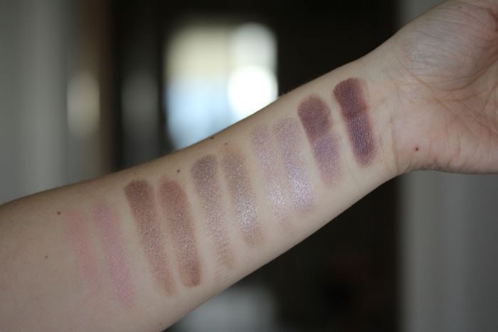 NARS Dual Intensity swatches (dry on the left and wet on the right for each shade) from left to right: Europa, Himalia, Dione, Callisto and Phoebe