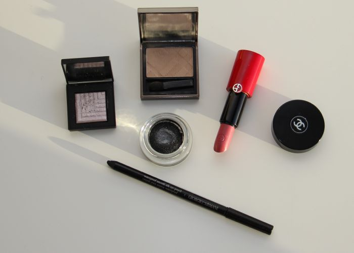 A handful of the items used: NARS Callisto, Burberry's Trench, Chanel's Mirifique, Armanis' Rouge Ecstasy in Daybreak and Waterproof Smooth Silk Eye Pencil in Black