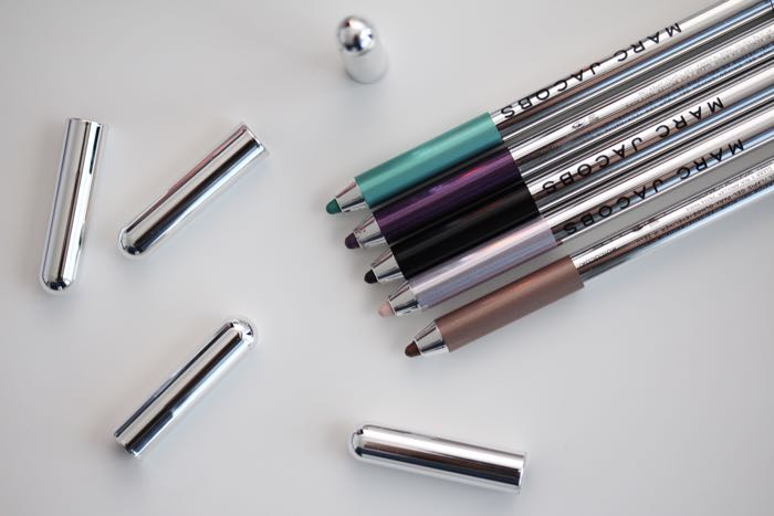 Marc Jacobs Highliner Gel Eye Crayons from top to bottom: Intro(Vert), Plum(Age), Blacquer, Obey-Ge and Ro-Cocoa
