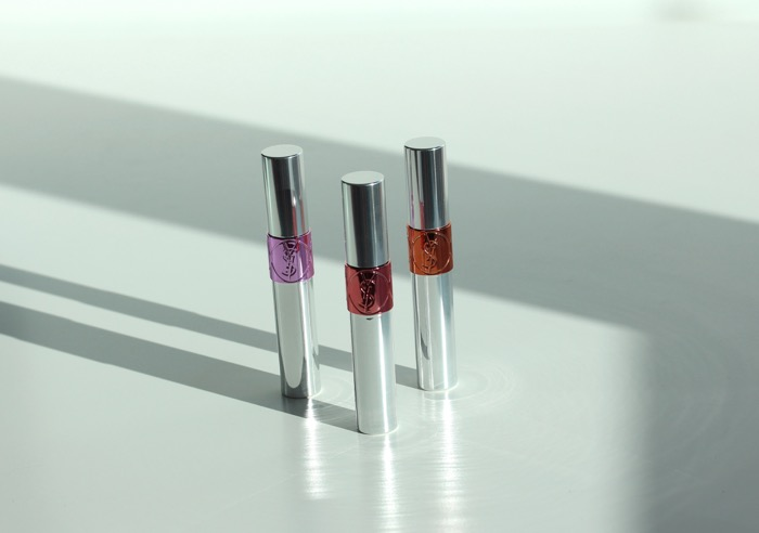 YSL's Volpute Tint-in-Oil in (from left to right) No. 8 Pink About Me, No. 6 Peach Me Love, and No. 1 Drive Me Copper