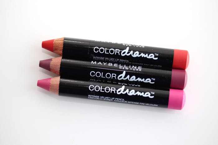 Maybelline's Color Drama Intense Lip Velvet Lip Pencil in Fab Orange, Pink So Chic, and Fuchsia Desire