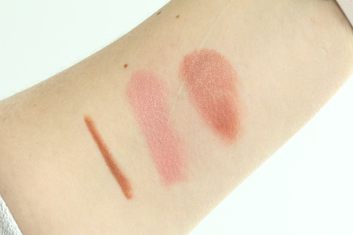 Swatches from left to right: Colourpop's Button, MAC's Creme Cup and blended together