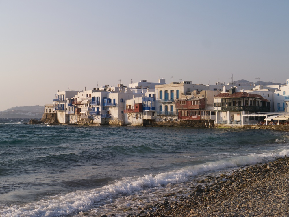 Another postcard area of Mykonos is a place called 'Little Venice' where the waves of the Med roll straight onto the walls of houses and restaurants.